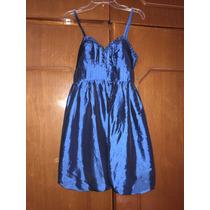 Vestido Americano Fashion Azul Tornasol Corto S Tafeta Glob