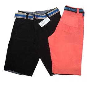 Kit Com 3 Bermudas Masculinas Coloridas Varias Marcas+cintos