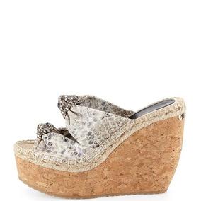 Zapatos Jimmy Choo Piel Vibora Tacon Corrido