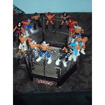 Ring D Lucha Libre Jaula Grande + Accesorios + 4 Luchadores