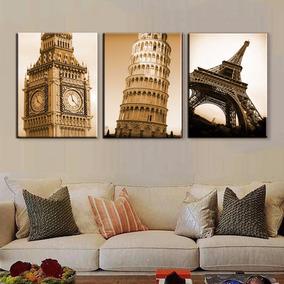 Bastidores Torre Eiffel, Big Ben, Torre De Pisa En Lienzo