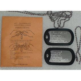 Juego De Placas Militares Con Cadenas Originales, Dog Tags