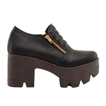 Zapato Mujer Doble Cierre Cuero Ecológico Graneado Negro