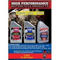 Paquete De Aceite Sintético Lucas Oil Para Harley Y Otras