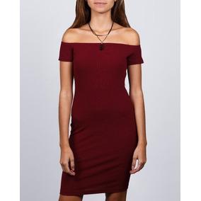 Vestido Synergy Acananalado Hombros Descubiertos Vino 707