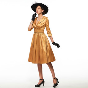 Vestido Estilo Vintage Color Oro Talle M