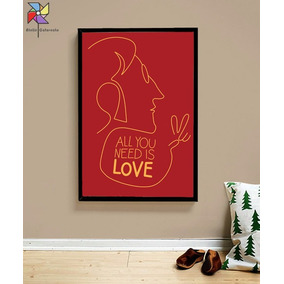 Quadro All You Need Is Love The Beatles Minimalista - Em A3