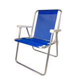 Cadeira De Praia Chácara Mec G Alta De Alumínio Tela Sannet