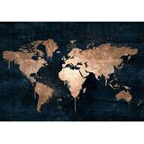Cuadro Mapa Mundi Azul Dorado/cobre 150x110 Cm