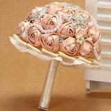 Buquê Bouquet De Noiva Rose Salmão Broche Pérola Renda
