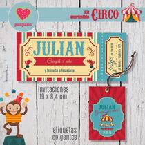 Kit Imprimible Circo Personalizado, Cumpleaños, Candy Bar