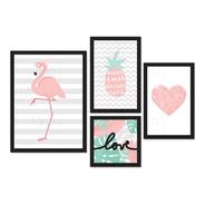 Kit De Placas Decorativas Flamingo Abacaxi Coração Love
