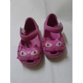 Zapato Nro.25 Rosa Fusia Carita De Gatito Goma Eva Lavable