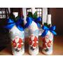 Lote 3 Botellas Navideñas Decoupage Decoracion Navidad!!!