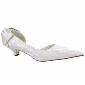 Sapato Scarpin Noiva Casamento Salto Baixo - Renda Branco