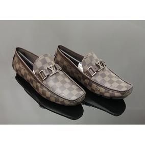 Sapato Louis Vuitton Mocassin Masculino Cafe Estampado