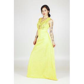 Vestido Cappuccino Longo Amarelo Renda Gripir