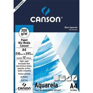 Bloco Papel Aquarela A4 300g Canson 12 Folhas