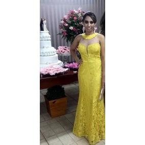 Vestido Longo De Renda Amarelo - Novo