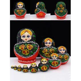 Boneca Matryoshka Russa Vermelha 10 Peças Madeira