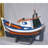 Barco Traineira De Pesca Maquete De Madeira Artesanal