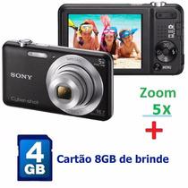 Câmera Digital Fotográfica Sony 16.1 Mp Preta Com Cartão 4gb