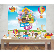 Kit Festa Mundo Bita  Painel Poli Banner + Displays Adesivo