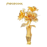 Piececool Maqueta 3d Metálica Golden Rose P050-g Hermosa