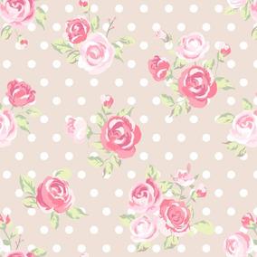 Papel De Parede Quarto Infantil Menina Bolinhas Floral Rosa