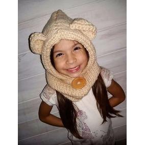 Gorros Cuello Osito Tejido Crochet Y Dos Agujas, Sin Botón