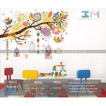 Vinil Decorativo Rama-i06 Árbol, Jaulas, Pájaros Y Flores.