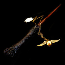Varinha Harry Potter Mais Colar Pomo De Ouro