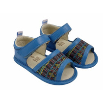 Sandália Infantil Lolla Hippie Velcro Em Couro Turqusa -catz