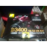 Cámara Réflex Profesional Nikon D3400 Lente 18-55 Roja/negra