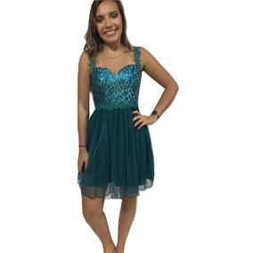 Vestido Festa Quinze Anos Renda Lantejoulas Glitter P Curto