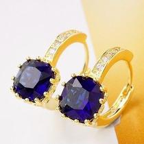 Brincos Banhado A Ouro Real Design Em Gemas Azul Cz