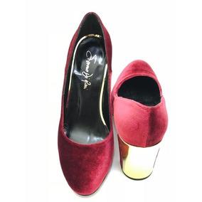 Saverio Di Ricci - Zapatos Cerrados Terciopelo Taco Dorado