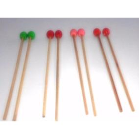 Baquetas Musicales Percusión Multicolor Verde Rojo Rosado