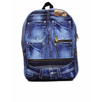 Mojo Mochila Denim Jeans Backpack Polyester Backlight Tablet