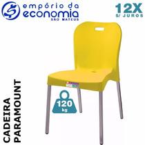 Cadeira Plastico Polipropileno Pé Alumínio Paramount Amarelo