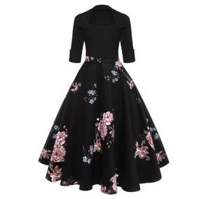 Vestido Negro Floral Vintage Escote En U
