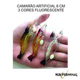 03 Peças Isca Artificial Camarão Fluorecente Girador Anzol