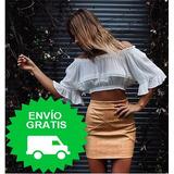 Minifalda / Falda Corta Mujer Invierno Cuerina Color Cafe