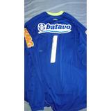 ad73f1018b Camisa Do Flamengo De Goleiro Azul Manga Longa Logo Hexa G no ...
