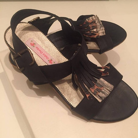 Sandalias Cuero Vacuno 39 Zapatos Chatitas Negras Liquido