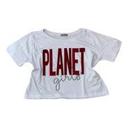 Cropped Branco Letreiro Planet Girls Veludo