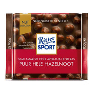 Tableta Chocolate Ritter Semi Amargo Con Avellanas X100g