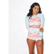 Maio Body Surf Feminino Macaquinho Com Proteção Solar Pena