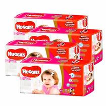 4 Pañales Huggies Natural Care P/ellas Superpack Xg 44u