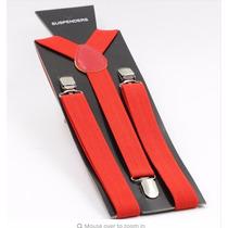 Tirantes Rojos Para Pantalon Con Broches De Metal Modernos